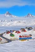 Tasiilaq w okresie zimowym — Zdjęcie stockowe
