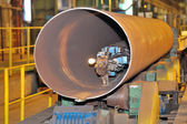 Industrial machine for making steel pipes — Stock Photo