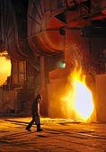 A steel worker in factory — Stock Photo