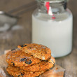 Stock Photo: Dietetic biscuits and milk