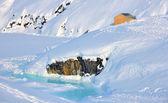 Huis op gletsjer in groenland — Stockfoto