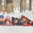 Stock Photo: Children in the snow in winter