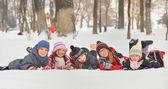Children in the snow in winter — Stock Photo