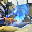 Welding with mig-mag method — Stock Photo #35408625