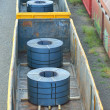 Cargo train platform with role steel — Stock Photo