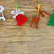 Christmas decoration on wooden board — Stock Photo