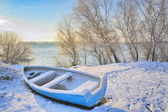 Boat near danube river — Stock Photo