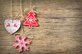 Rustic christmas decoration on old wood background — Stock Photo