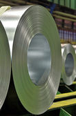Huge rolls of tinplate galvanized in the factory — Stock Photo