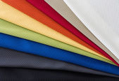 Fabrics of multi colors samples — Stock Photo