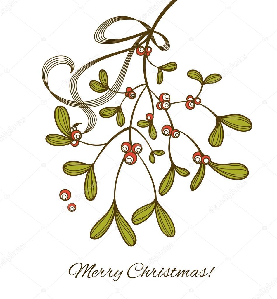 Mistletoe Drawing Mistletoe - stock illustration