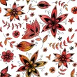 Stock Vector: Red floral seamless pattern