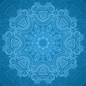 Ornamental round blue lace pattern_1 — Stockvector