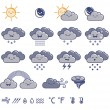 Set of weather grey icons — Stock Vector