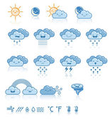 Set of weather blue icons — Stock Vector