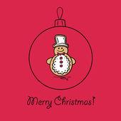 Christmas ball with snowman — Stock Vector