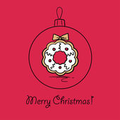 Ball with Christmas wreath — Stock Vector