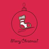 Ball with Christmas sock — Stock Vector