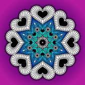 Greeting card with round ornament from hearts. — Stockvector