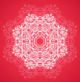 Ornamental round red lace pattern — Stock Vector