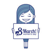 Woman congratulates March 8 — Stock Vector