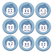 Set of nine facial expressions — Stock Vector