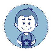 Smile photographer with camera — Stock Vector