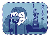 Teaser with photographer travels through America — Stock Vector
