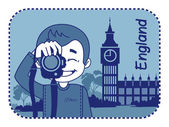 Teaser with photographer travels through England — Stock Vector