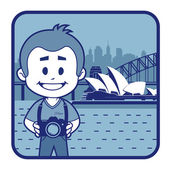 Teaser with photographer travels through Australia — Stock Vector