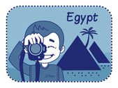 Teaser with photographer travels through Egypt — Stock Vector