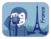 Teaser with photographer travels through France — Stock Vector