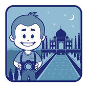 Teaser with photographer travels through India — Stock Vector