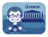 Teaser with photographer travels through Greece — Stock Vector