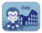 Teaser with photographer travels through Italy — Stock Vector