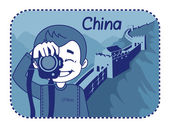 Teaser with photographer travels through China — Stock Vector