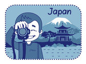 Teaser with photographer travels through Japan — Stock Vector