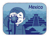Teaser with photographer travels through Mexico — Stock Vector