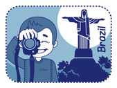 Teaser with photographer travels through Brazil — Stock Vector
