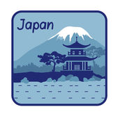 Illustration with pagoda and Mount Fuji in Japan — Stock Vector