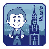 Teaser with photographer travels through Russia — Stock Vector