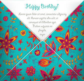 Happy Birthday card with colorful floral pattern — Stock Vector