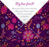 My dear friend card with colorful floral pattern — Stock Vector