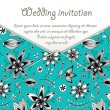 Wedding invitation card with blue floral pattern — Stock Vector #47867619