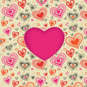 Happy Valentines Day card with pink heart — Cтоковый вектор