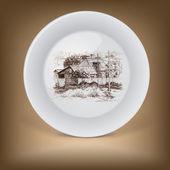 Decorative plate with image of farmhouse. — Stock Vector
