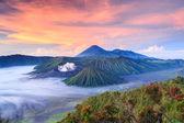 Bromo volcano at sunrise,Tengger Semeru National Park, East Java, Indonesia — Stock Photo