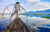 Fishermen in Inle Lake at sunrise, Shan State, Myanmar — Stock Photo