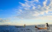 Fishermen in Inle Lake at sunset, Shan State, Myanmar — Stock Photo