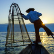 Fishermen in Inle Lake at sunrise, Shan State, Myanmar — Stock Photo